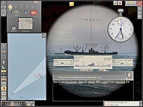 Po 60 sekundach ponownie szacujemy stadimetrem odległość, odmierzamy ją linijką na mapie i stawiamy kolejny znacznik na końcu wykreślonej kreski. - Wyliczenie kursu i prędkości - Torpedowanie łajb - Silent Hunter 5: Bitwa o Atlantyk - poradnik do gry