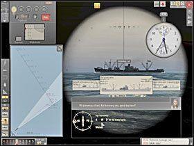 Uzyskan� warto�� k�ta biegu wyznaczamy na tarczy, zwracaj�c uwag�, na kt�rej burcie celu znajduje si� nasz U-Boot. - Wyliczenie k�ta biegu - Torpedowanie �ajb - Silent Hunter 5: Bitwa o Atlantyk - poradnik do gry