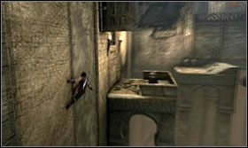Odczekaj aż wysuwający się blok ściany wsunie się z powrotem i szybko przebiegnij na drugą stronę - The Works (1) - Opis przejścia - Prince of Persia: Zapomniane Piaski - poradnik do gry
