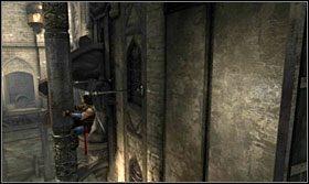 Przebiegnij do kolejnej wnęki, a stamtąd odbij się w kierunku zwisającej z sufitu kolumny - The Works (1) - Opis przejścia - Prince of Persia: Zapomniane Piaski - poradnik do gry