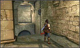 Obróć platformę tak, aby wystająca belka była skierowana w stronę tarasu z krótszą belką - The Works (1) - Opis przejścia - Prince of Persia: Zapomniane Piaski - poradnik do gry