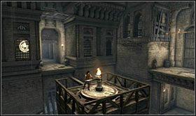 Teraz ustaw platformę tak, aby wychodząca z niej belka była skierowana w kierunku zapadni na pionowej ścianie - The Works (2) - Opis przejścia - Prince of Persia: Zapomniane Piaski - poradnik do gry