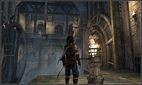 Rusz kołowrotem tak, aby umocowane do niego belki ustawiły się w poziomie - The Works (2) - Opis przejścia - Prince of Persia: Zapomniane Piaski - poradnik do gry