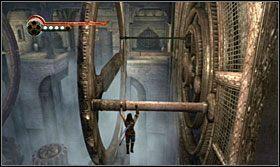 Przeskocz po belkach na drugą stronę komnaty - The Works (2) - Opis przejścia - Prince of Persia: Zapomniane Piaski - poradnik do gry