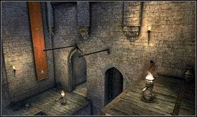 Przekręć raz w stronę przeciwną do ruchu wskazówek zegara, apotem po tyczkach i fladze zjedź do pierwszego kołowrotu - The Works (2) - Opis przejścia - Prince of Persia: Zapomniane Piaski - poradnik do gry