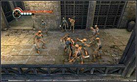 Wykonaj skok w kierunku znajdujących się na tarasie przeciwników - The Works (2) - Opis przejścia - Prince of Persia: Zapomniane Piaski - poradnik do gry