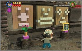 Podnieś ogromna czerwoną żaluzję przy pomocy zaklęcia (WL ) i sznura po prawej stronie - Hogsmeade | Opis przejścia - Rok 3 - LEGO Harry Potter Lata 1-4 - poradnik do gry