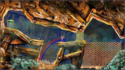 Przeskocz przez dziur�, a nast�pnie skocz w stron� klucza - Lair - World 3 - Braid - poradnik do gry