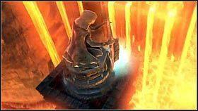 Na końcu tunelu znajdziemy mechanizm [1], który wyciągnie posąg z lawy [2] - Katedra Zmierzchu (3) - Opis przejścia - Darksiders - PC - poradnik do gry