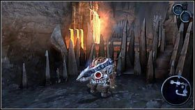 Wykorzystując niepłonące granaty, robimy linię łączącą ognistą bombę z kryształem [1] - Katedra Zmierzchu (3) - Opis przejścia - Darksiders - PC - poradnik do gry