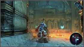 Zjeżdżamy po linie w dół [1], gdzie używamy pobliskiego mechanizmu [2] - Katedra Zmierzchu (4) - Opis przejścia - Darksiders - PC - poradnik do gry