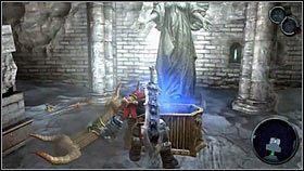 Po zabiciu demonów znajdujących się w środku [1], otwieramy skrzynię z Kluczem Widzącego [2] - Katedra Zmierzchu (4) - Opis przejścia - Darksiders - PC - poradnik do gry