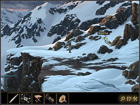 Oczywiste jest, że można by spróbować przeskoczyć ją, zjeżdżając na sankach, ale przeszkadza w tym brak śniegu tuż przed samą przepaścią - Rozdział II - Sekret w górach (1) - Opis przejścia - Lost Horizon - poradnik do gry