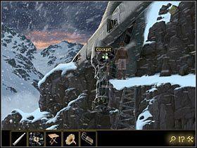 Oprzyj o ośnieżoną półkę skalną (po prawej) przypominający drabinę szkielet skrzydła - Rozdział II - Sekret w górach (1) - Opis przejścia - Lost Horizon - poradnik do gry