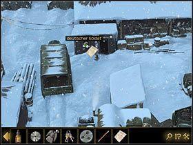 Opuść barak i podejdź do okienka w kolejnym, stojącym na prawo od ciężarówki, w której ulokowałeś Thomasa - Rozdział II - Sekret w górach (3) - Opis przejścia - Lost Horizon - poradnik do gry