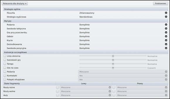 Widok ustawień Poleceń dla drużyny w trybie podstawowym (górna część ekranu) i zaawansowanym (dolna) - Polecenia dla drużyny - Ustawienia taktyczne - Football Manager 2011 - poradnik do gry
