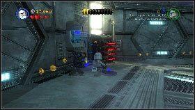 Po dotarciu do okrągłej sali rozpraw się z przeciwnikami [1], a następnie napraw urządzenie stojące przy ścianie z lewej [2] - Generał Grievous (6) - Tryb fabularny - LEGO Star Wars III: The Clone Wars - poradnik do gry