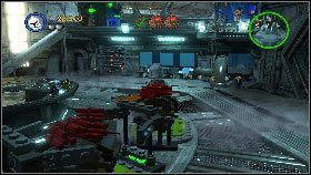 Wejdź do korytarza i przy pomocy bazook zniszcz pojemnik znajdujący się na górze przed bramą - Generał Grievous (6) - Tryb fabularny - LEGO Star Wars III: The Clone Wars - poradnik do gry