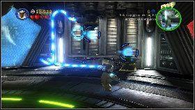 Kiedy to pokoju zaczną wbiegać przeciwnicy pochwyć mocą robota bez głowy i naceluj nim na złotą klatkę z prawej [1] - Generał Grievous (7) - Tryb fabularny - LEGO Star Wars III: The Clone Wars - poradnik do gry