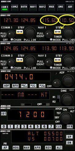 Teraz zaprogramujemy autopilota na utrzymanie pułapu 5500 stóp (na samym dole panelu radia, sekcja ALT) - Start (1) - Lot - Microsoft Flight Simulator 2002 Professional Edition - poradnik do gry