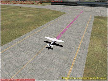 Różowa linia wskazuje drogi kołowania - Start (2) - Lot - Microsoft Flight Simulator 2002 Professional Edition - poradnik do gry