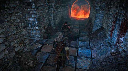 Kontynuując swoją wędrówkę korytarzem natkniesz się w końcu na zaginionego Gridleya (M10, 11) - W szponach szaleństwa (kroki 1 - 5) | Akt 1 - zadania poboczne w Wiedźmin 2 - Wiedźmin 2: Zabójcy Królów - poradnik do gry