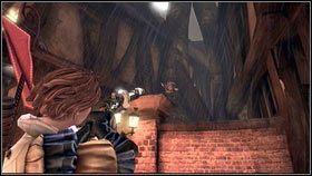 Przed wyłamanym ogrodzeniem [1] warto się na chwilę zatrzymać i zestrzelić kolejnego gnoma przyczepionego do ściany [2] - Bitwa o Albion - Opis przejścia - Fable III - PC - poradnik do gry