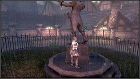 Podczas marszu będziemy mijać ogrodzenia [1], za którym stoi rzeźba oraz wielkie drzewo - Bitwa o Albion - Opis przejścia - Fable III - PC - poradnik do gry