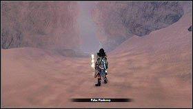 Idąc dalej wzdłuż wskazywanej ścieżki, pokonujemy napotkanych przeciwników [1], a następnie wchodzimy do poszukiwanej jaskini [2] - Ciężar świata - Opis przejścia - Fable III - PC - poradnik do gry