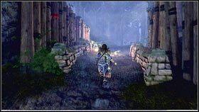 Idziemy wi�c ca�y czas wzd�u� �wietlistego szlaku, a� dotrzemy do ma�ej osady [1] - Ci�ar �wiata - Opis przej�cia - Fable III - PC - poradnik do gry
