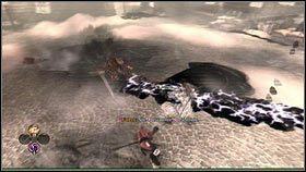 Podobnie jak spotkane wcześniej stwory, tworzy on na ziemi czarne kręgi [1] oraz fale uderzeniowe [2], których unikamy wykonując fikołki - Ciężar świata - Opis przejścia - Fable III - PC - poradnik do gry