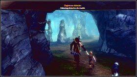 Dziewczynkę znajdziemy na końcu pieczary [1], obok drewnianych skrzyń - Wioska Brightwall - Zadania poboczne - Fable III - PC - poradnik do gry
