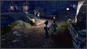 Żeby go w sobie rozkochać, ponownie używamy kilku gestów [1], a następnie chwytamy za rękę i prowadzimy na pobliski most przed wejściem do wioski [2] - Wioska Brightwall - Zadania poboczne - Fable III - PC - poradnik do gry