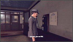 Wyjdź z sali przesłuchań #1 i odszukaj telefon w celu skontaktowania się z centralą #2 - Case 12 - The Studio Secretary Murder (4) - Główne śledztwa - L.A. Noire - poradnik do gry