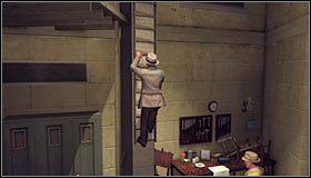 Po znalezieniu się na górnym balkoniku skręć w prawo, a następnie w lewo, wchodząc do znajdującego się tu pomieszczenia #1 - Case 13 - The Quarter Moon Murders (1) - Główne śledztwa - L.A. Noire - poradnik do gry