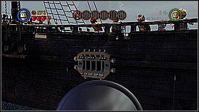 Przełączamy się na pana Gibbsa i naprawiamy armatę po lewej - Czarna Perła atakuje - opis przejścia - Klątwa Czarnej Perły - LEGO Piraci z Karaibów - poradnik do gry