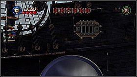 Na pokładzie przenosimy armatę do ostatniego gniazda strzeleckiego - Czarna Perła atakuje - opis przejścia - Klątwa Czarnej Perły - LEGO Piraci z Karaibów - poradnik do gry