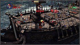 Przebiegamy na drugi statek po desce - Czarna Perła atakuje - opis przejścia - Klątwa Czarnej Perły - LEGO Piraci z Karaibów - poradnik do gry