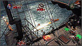 Przełączamy na Jacka Sparrowa i używamy jego haku przy sterze - Czarna Perła atakuje - opis przejścia - Klątwa Czarnej Perły - LEGO Piraci z Karaibów - poradnik do gry