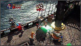 Z masztu skaczemy na łańcuch i w ten sposób strącamy szary sześcian - Czarna Perła atakuje - opis przejścia - Klątwa Czarnej Perły - LEGO Piraci z Karaibów - poradnik do gry