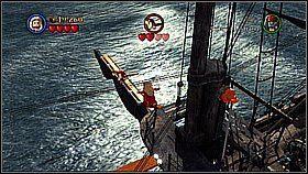 Przełączamy na kobietę i dostajemy się na maszt podwójnym skokiem (po zielonej kładce i łańcuchu) - Czarna Perła atakuje - opis przejścia - Klątwa Czarnej Perły - LEGO Piraci z Karaibów - poradnik do gry