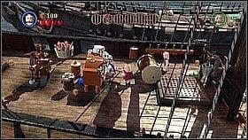Butelka 1 - Niszczymy Czarnobrodym pieczęć na maszcie po prawej (czaszka) - Czarna Perła atakuje - butelki - Klątwa Czarnej Perły - LEGO Piraci z Karaibów - poradnik do gry