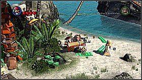 Wymieniamy banana na łopatę, którą trzyma małpa (początkowo będzie nam uciekać) - Nora przemytników - opis przejścia - Klątwa Czarnej Perły - LEGO Piraci z Karaibów - poradnik do gry