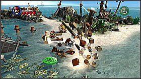 O poranku zbiegamy na plażę, niszczymy złoty ster w wodzie i odbudowujemy go - Nora przemytników - opis przejścia - Klątwa Czarnej Perły - LEGO Piraci z Karaibów - poradnik do gry