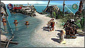 Po zbudowaniu kompletnej katapulty małpa rozwali drewniany właz - układamy go w bele, a następnie zanosimy na katapultę - Nora przemytników - opis przejścia - Klątwa Czarnej Perły - LEGO Piraci z Karaibów - poradnik do gry