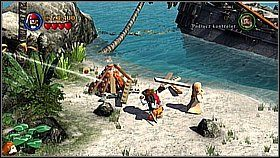 Obracamy mechanizm, na który pada promień światła, aby trafić w nowe zwierciadło (promień wyjdzie na zewnątrz jaskini) - Nora przemytników - opis przejścia - Klątwa Czarnej Perły - LEGO Piraci z Karaibów - poradnik do gry