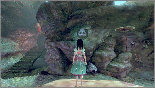 Wyskakujemy na centralną platformą na planszy, wysłuchujemy próśb fałszującej ryby-butelki i obracamy się prawo - Choral Coral - Rozdział 2 - Deluded Depths - Alice: Madness Returns - poradnik do gry
