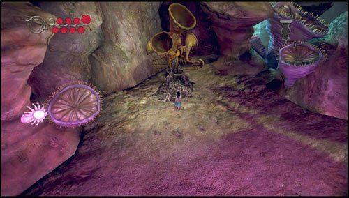 Po skończonej walce rozbijamy przeszkodę odcinającą dopływ dźwięku do trąbek, uderzając Hobby Horse w instrumenty - Choral Coral - Rozdział 2 - Deluded Depths - Alice: Madness Returns - poradnik do gry