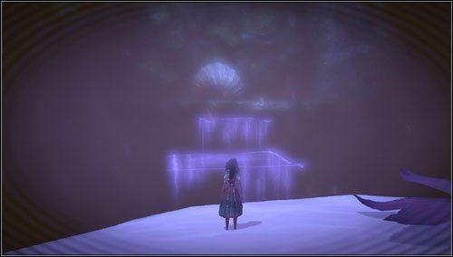 Na ostatniej platformie spoglądamy w lewo - zmniejszamy się i idziemy po niewidzialnych platformach w stronę przykrytej rośliną mysiej dziurki - Oyster Garden- Beds Available (1) - Rozdział 2 - Deluded Depths - Alice: Madness Returns - poradnik do gry