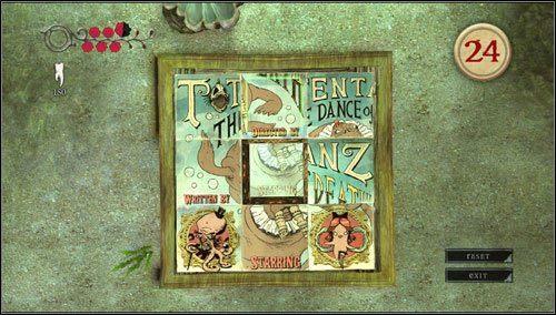 Przed nami teraz zadanie ułożenia plakatu reklamującego przedstawienie - Oyster Garden- Beds Available (2) - Rozdział 2 - Deluded Depths - Alice: Madness Returns - poradnik do gry